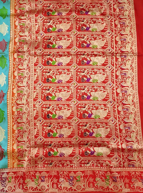 Turquoise katan silk Banarasi saree with Baluchari style border and anchal (4) ANchal