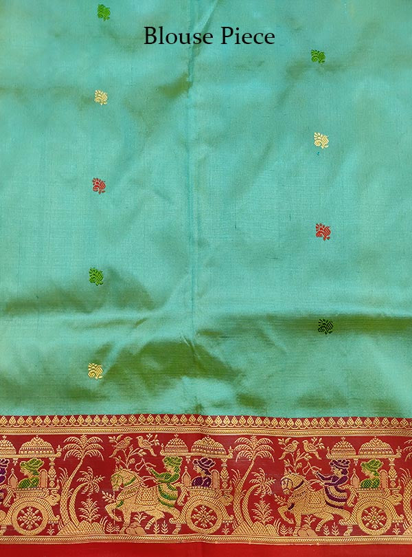 Turquoise katan silk Banarasi saree with Baluchari style border and anchal (5) Blouse