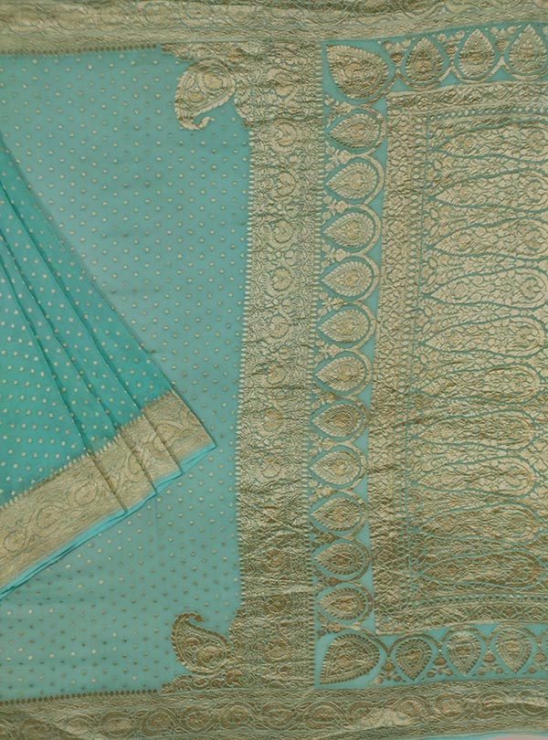 Turquoise khaddi georgette Banarasi saree with mini polka dots (1) main