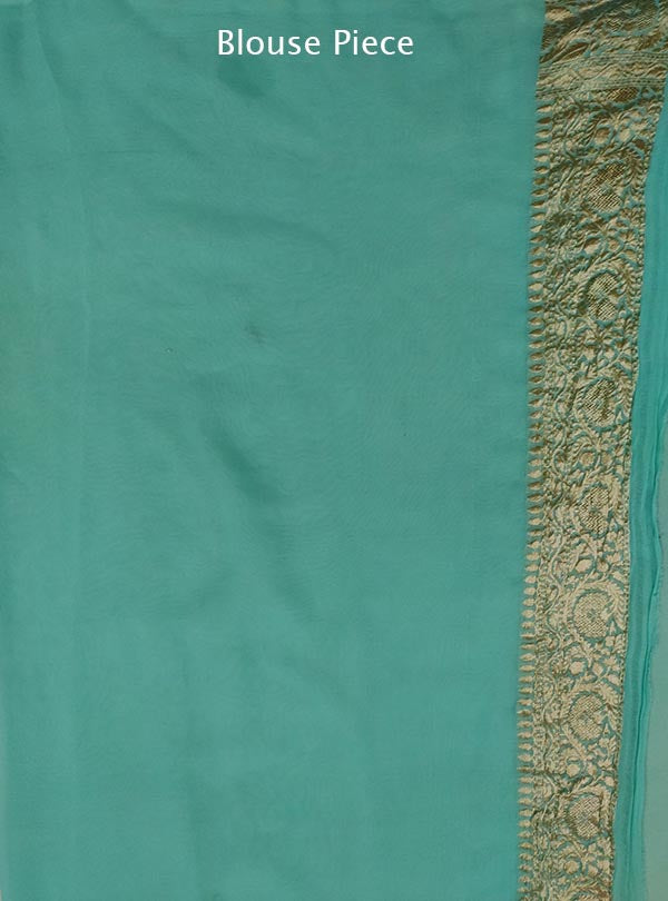 Turquoise khaddi georgette Banarasi saree with mini polka dots (4) blouse