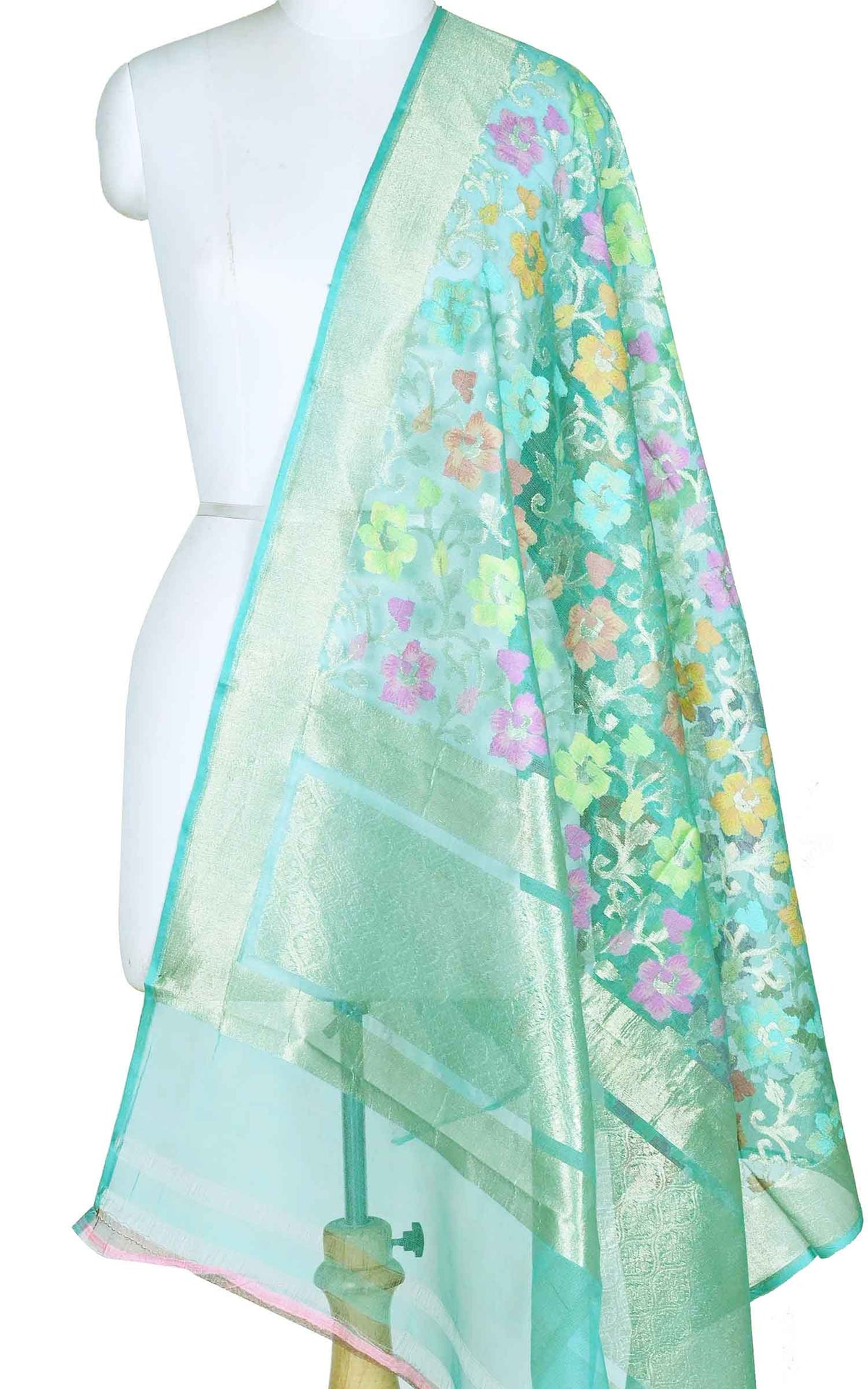 Turquoise kora silk Banarasi dupatta with multi color flower jaal (1) Main