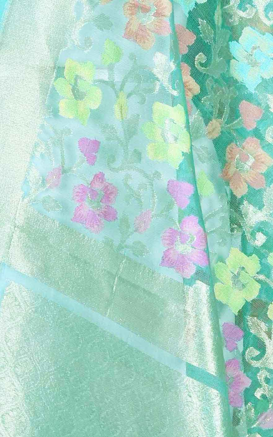 Turquoise kora silk Banarasi dupatta with multi color flower jaal (2) Close up