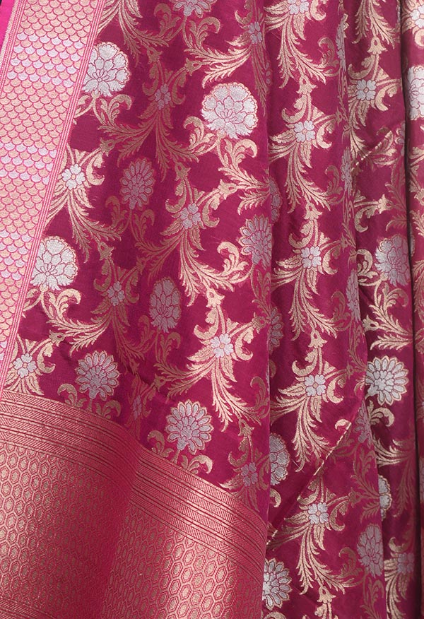 Wine Banarasi Silk Dupatta with sona rupa floral jaal (2) Close up