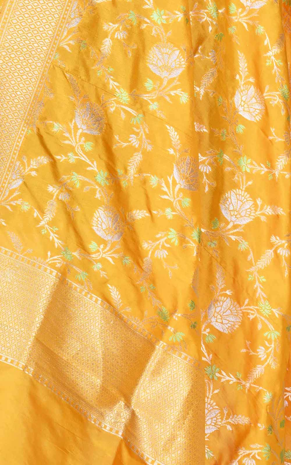Yellow Katan silk Banarasi dupatta with artistic meenedar floral jaal (2) Close up