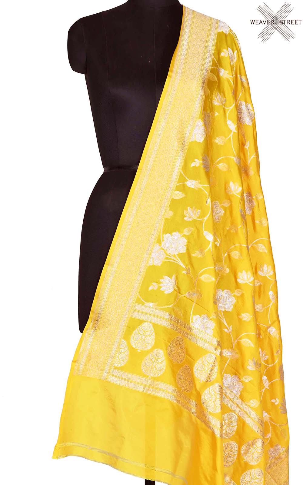 Yellow Katan silk Banarasi dupatta with sona rupa flower jaal (1) Main