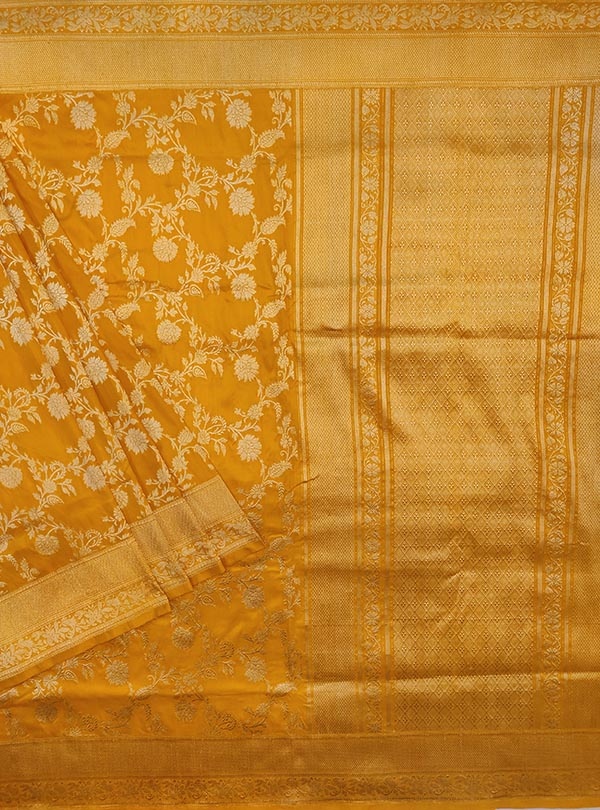 Yellow Katan silk Banarasi saree with delicate flower kaduwa jangla (1) MAIN
