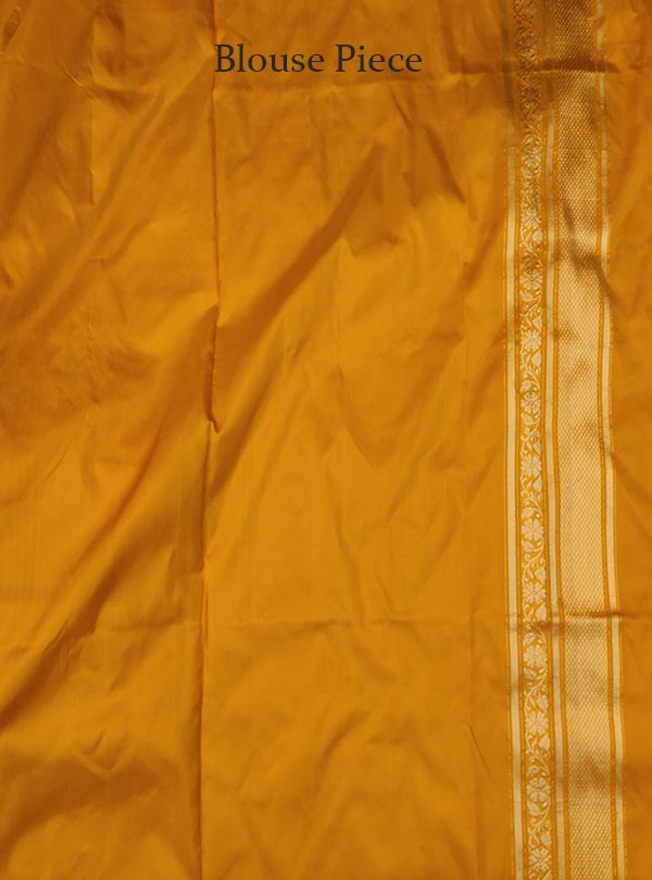 Yellow Katan silk Banarasi saree with delicate flower kaduwa jangla (5) BLOUSE