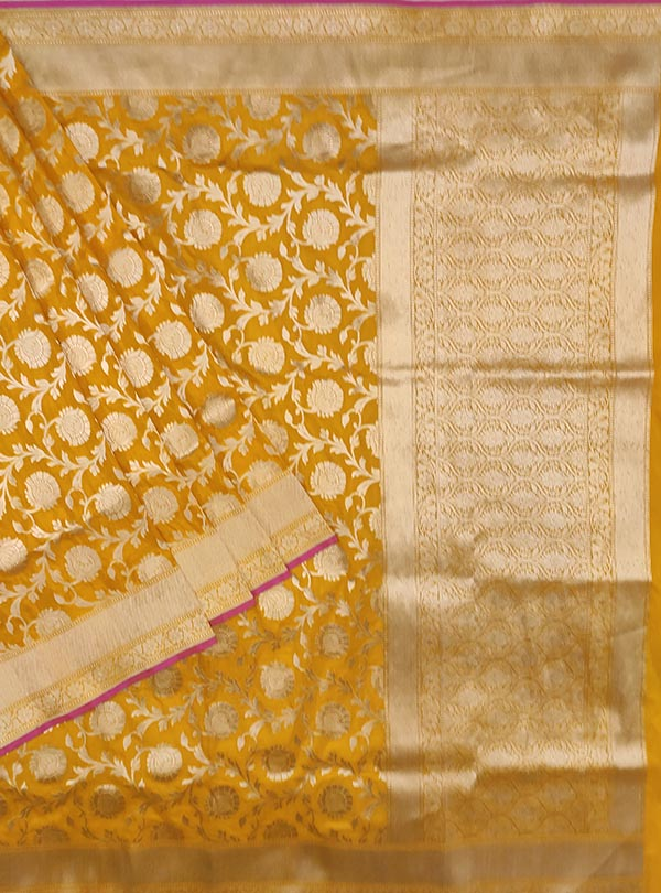 Yellow Katan silk handloom Banarasi saree with flower jaal (1) Main