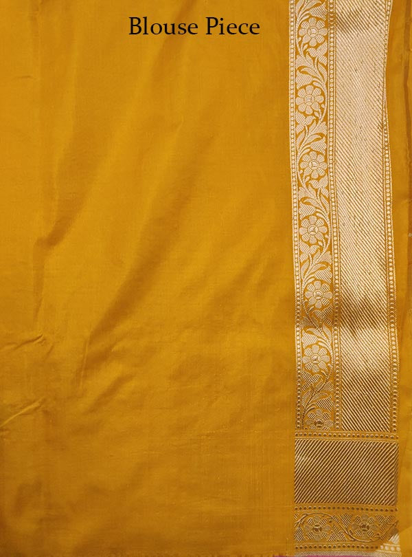 Yellow Katan silk handloom Banarasi saree with flower jaal (5) Blouse