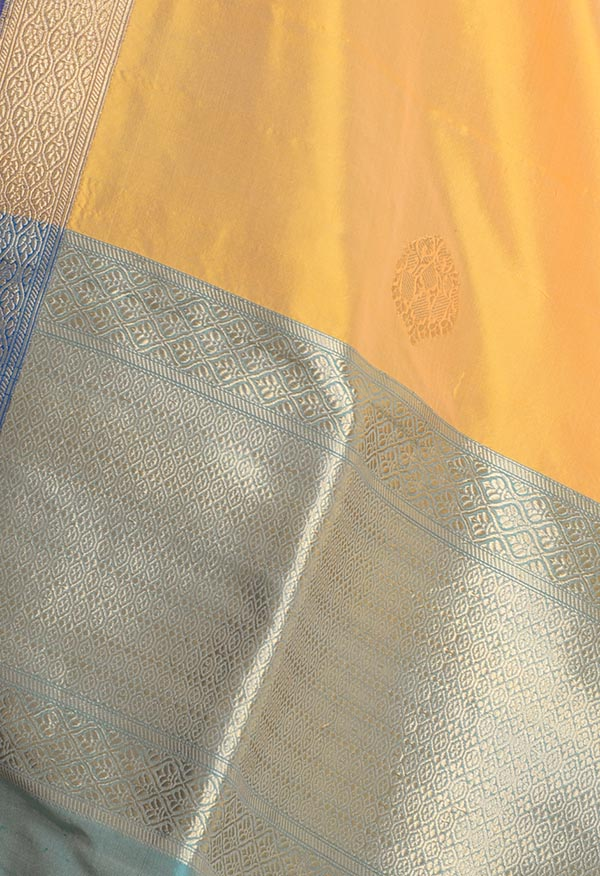 Yellow Katan silk handwoven Banarasi dupatta with elegant buta (2) Close up
