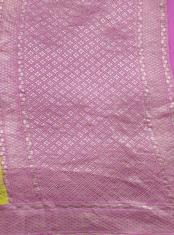 Yellow Khaddi georgette handwoven Banarasi saree with flower boota jaal (4) anchal