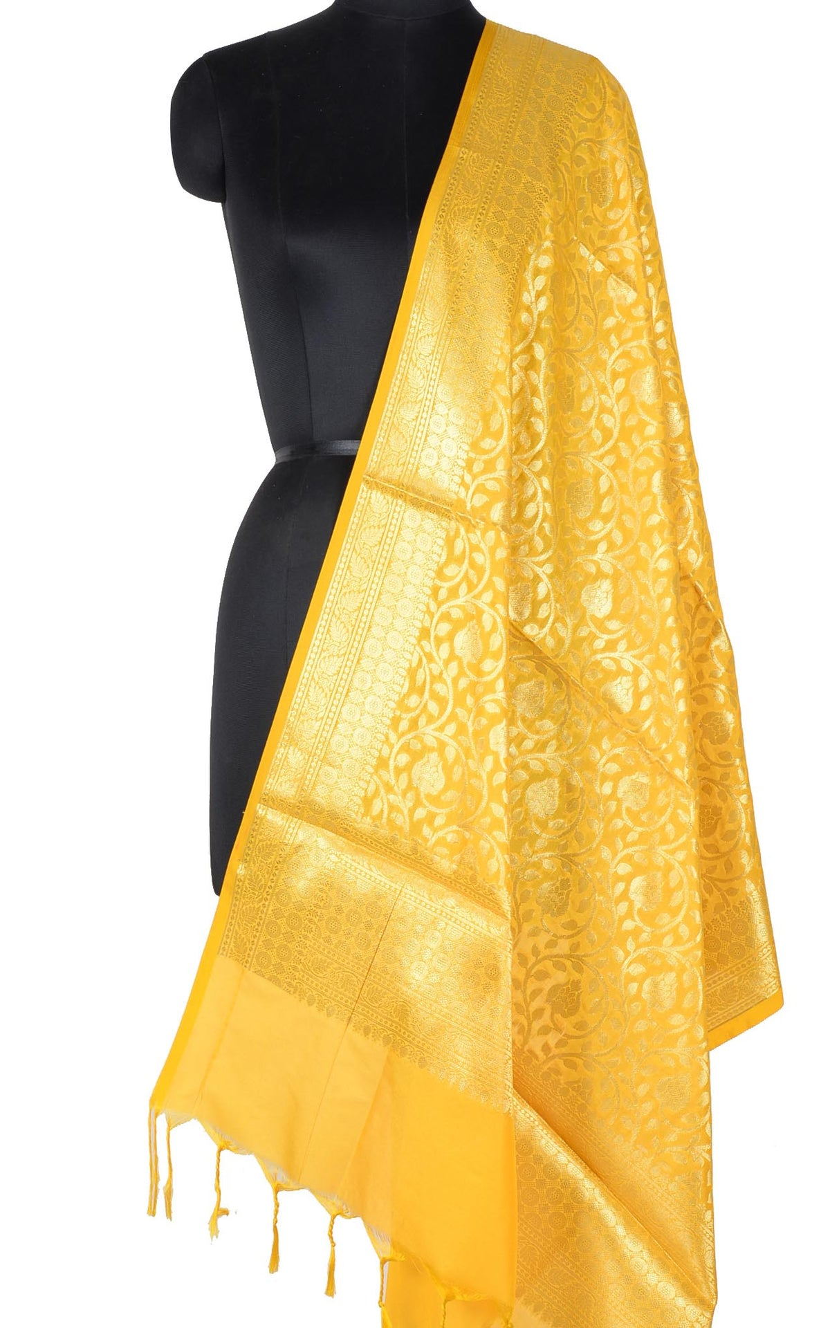 Yellow Banarasi dupatta with meticulous jaal (1) Main