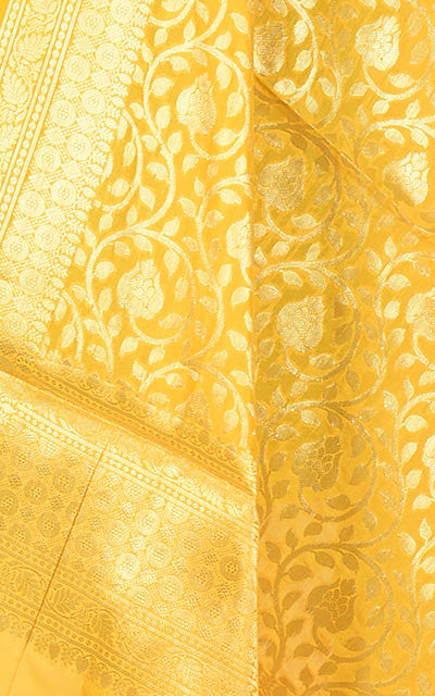 Yellow Banarasi dupatta with meticulous jaal (2) CLoseup