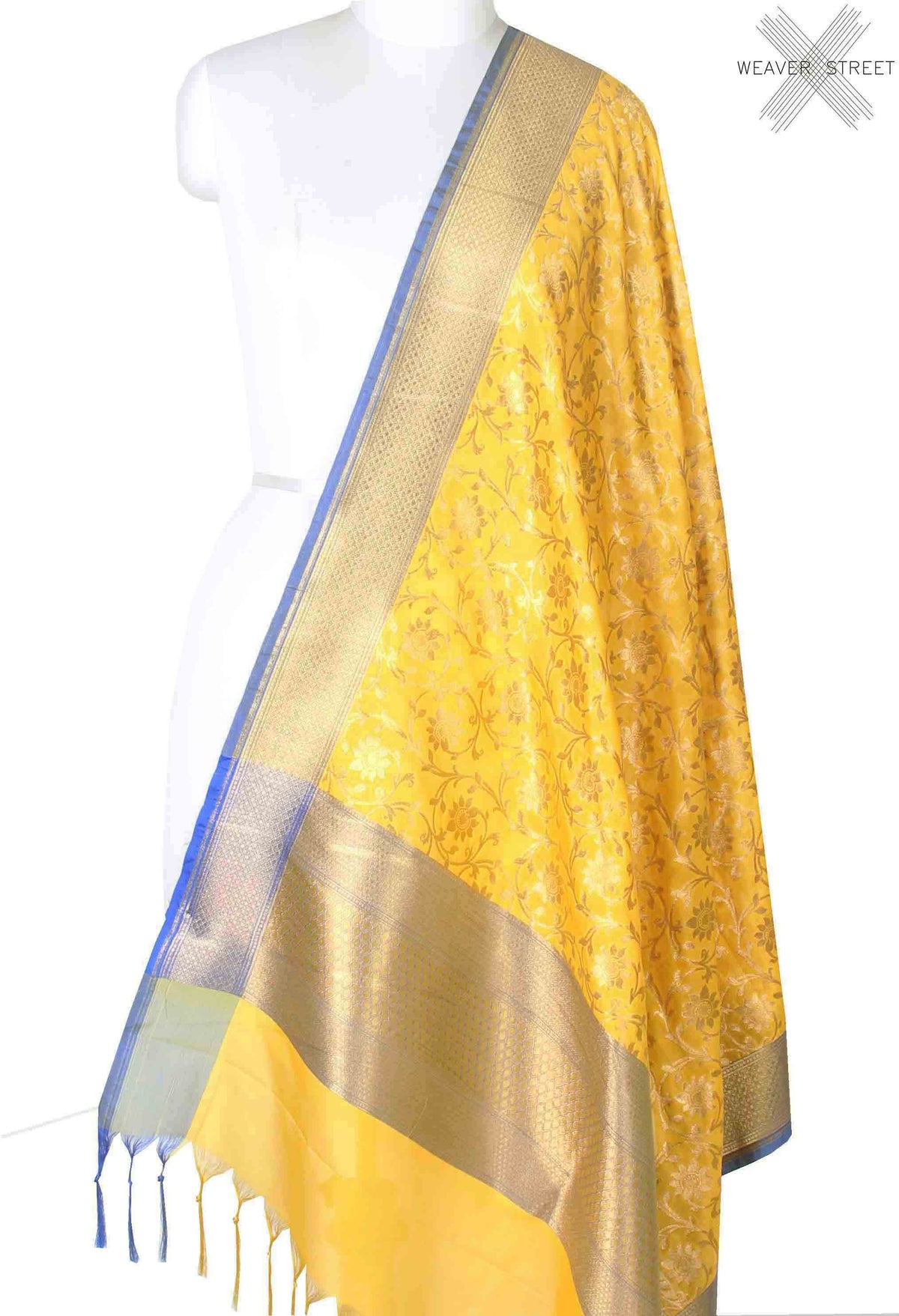 Yellow Banarasi dupatta with sunflower jaal (1) main