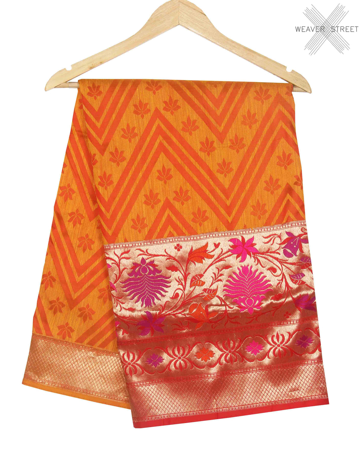 Yellow Dupion silk handwoven Banarasi saree with chevron jaal (1) main