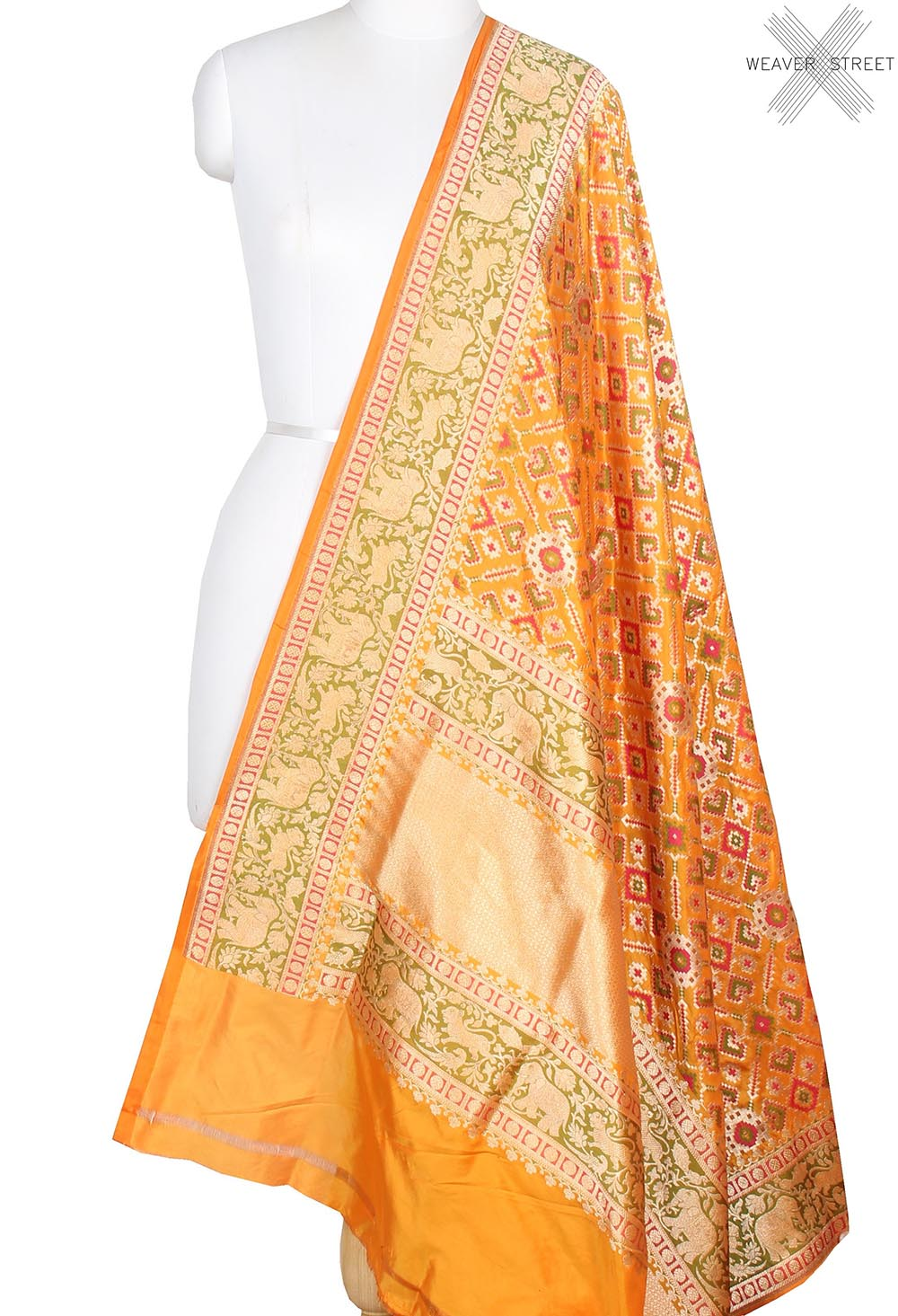 Yellow Katan Silk Banarasi dupatta with meenedar patola jaal (1) main