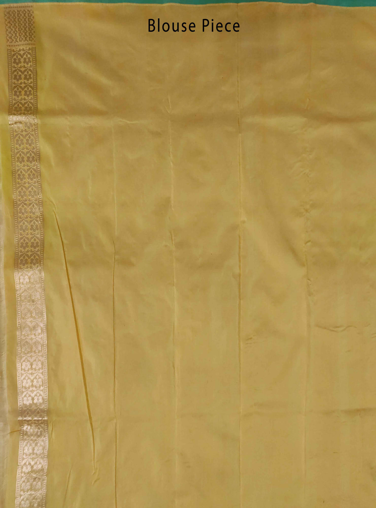Yellow Katan Silk handloom Banarasi saree with birds booti inside box jaal (4) Blouse Piece
