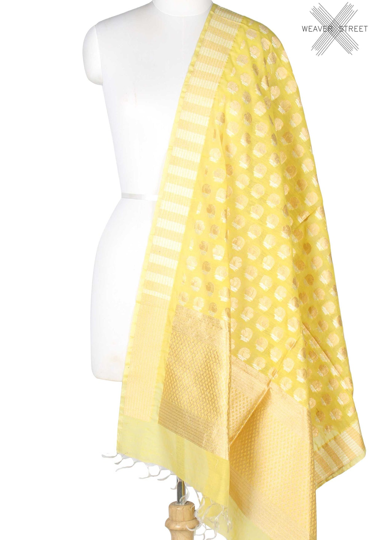 Yellow Silk Cotton Banarasi Dupatta with sona rupa stylized motifs (1) Main