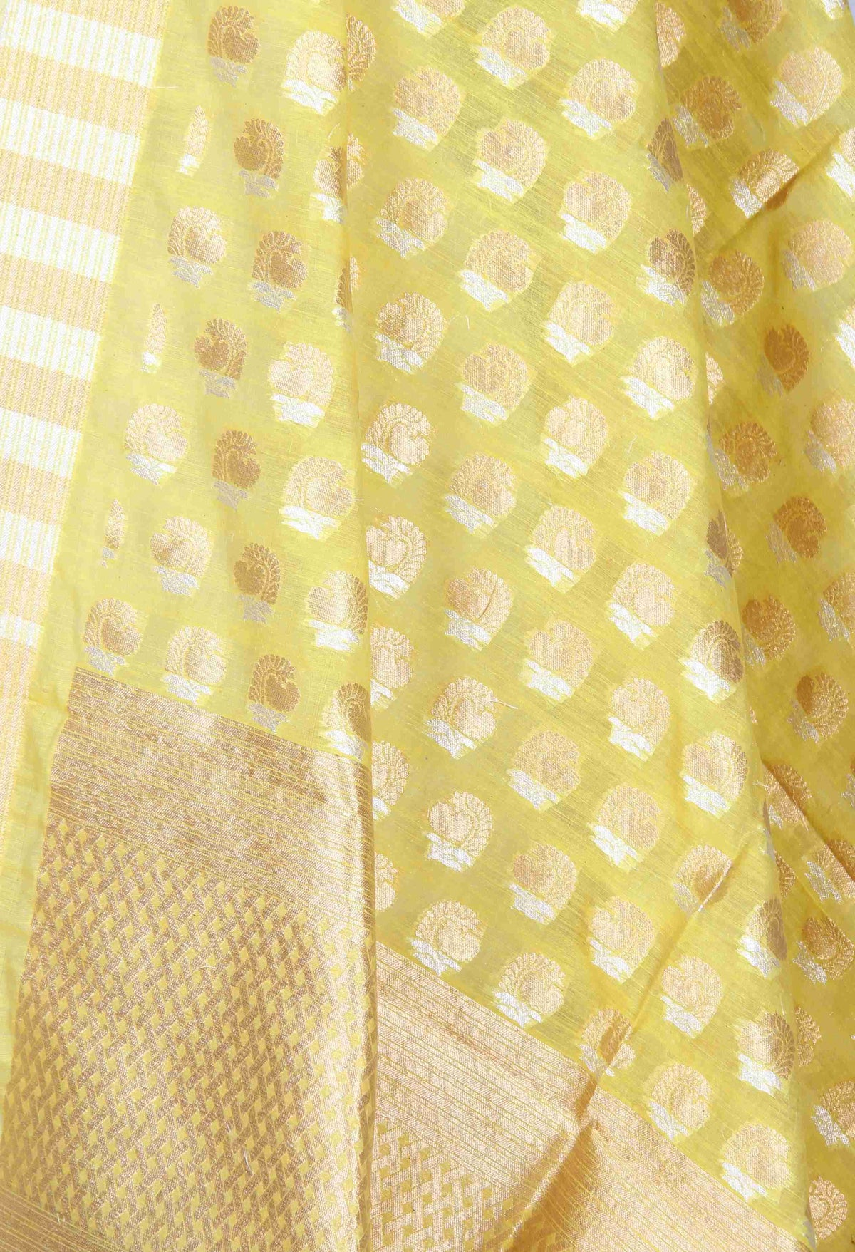Yellow Silk Cotton Banarasi Dupatta with sona rupa stylized motifs (2) Close up