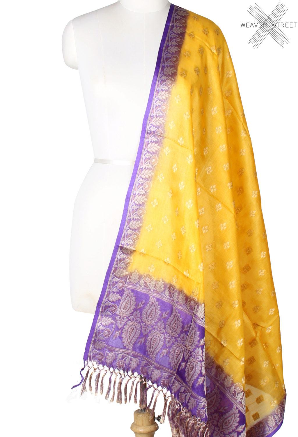 Yellow Tussar silk Banarasi dupatta with mini flower motifs (1) Main