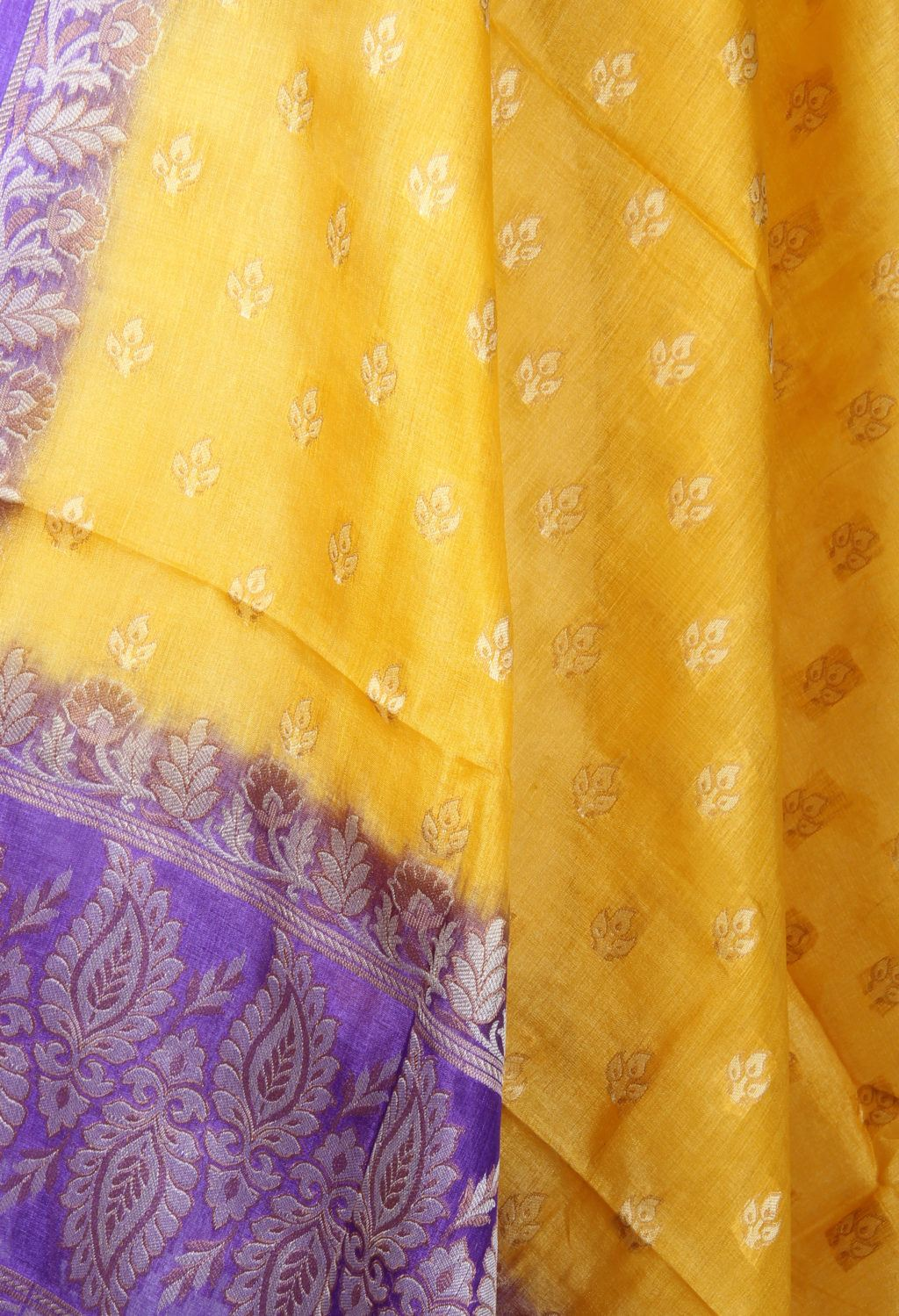 Yellow Tussar silk Banarasi dupatta with mini flower motifs (2) Close up