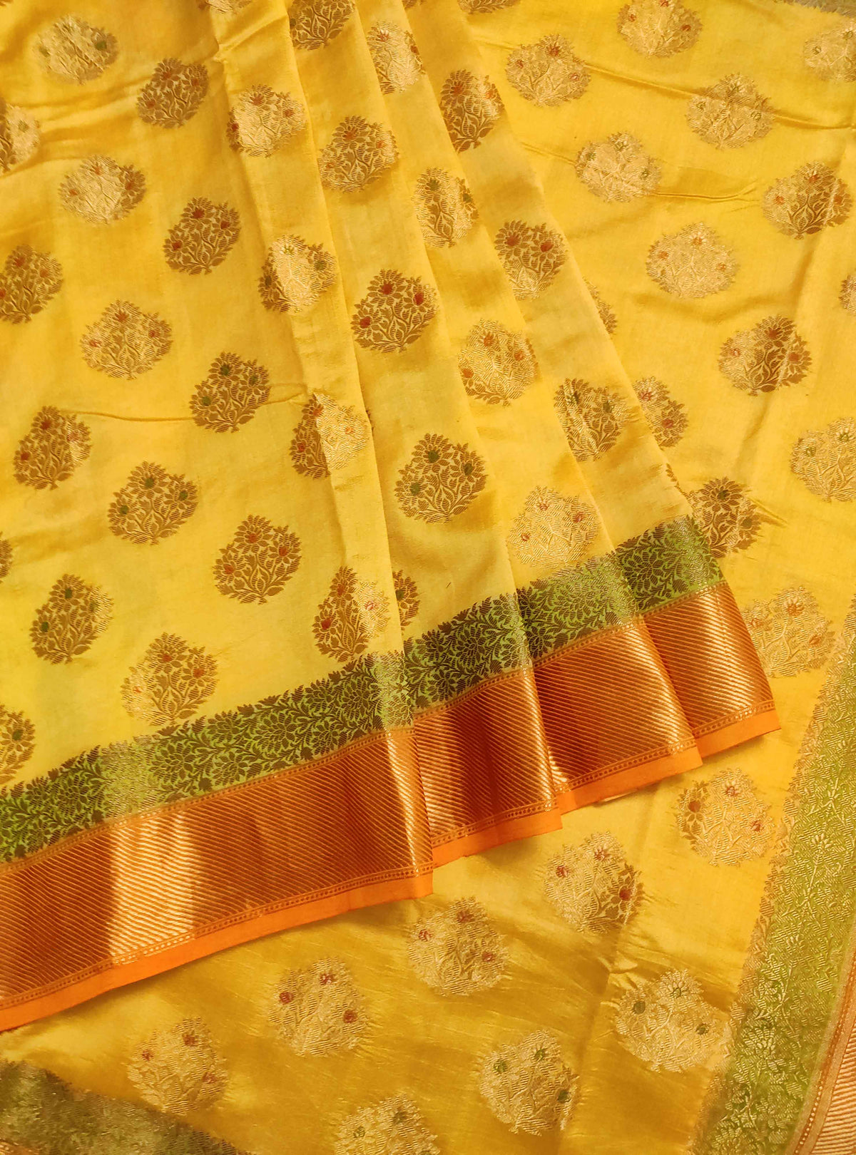 Yellow muga chiniya silk Banarasi saree with handpainted meenedar flower booti (3) Front