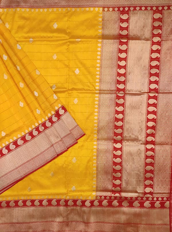 Yellow katan silk Banarasi saree with paisley booti inside grid (1) Main