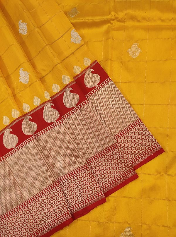 Yellow katan silk Banarasi saree with paisley booti inside grid (2) Close up