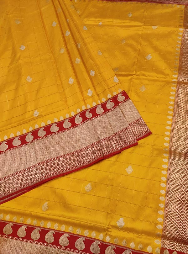Yellow katan silk Banarasi saree with paisley booti inside grid (3) Center