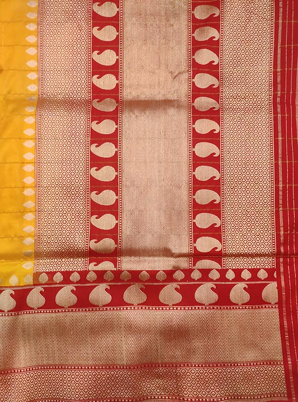 Yellow katan silk Banarasi saree with paisley booti inside grid (4) Anchal