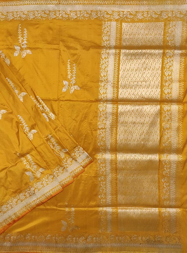 Yellow katan silk Banarasi saree with tulsi plant boota in sona rupa zari (1) main