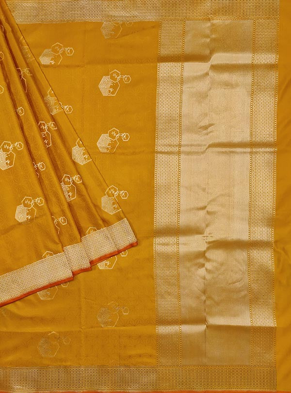 Yellow katan silk tanchoi Banarasi saree with artistic boota (1) main