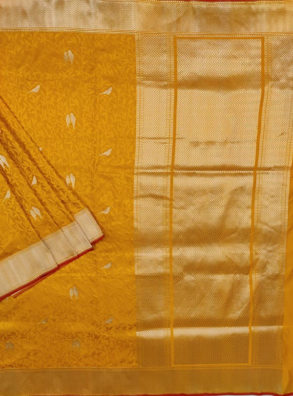 Yellow katan silk tanchoi Banarasi saree with kaduwa woven bird booti (1) main