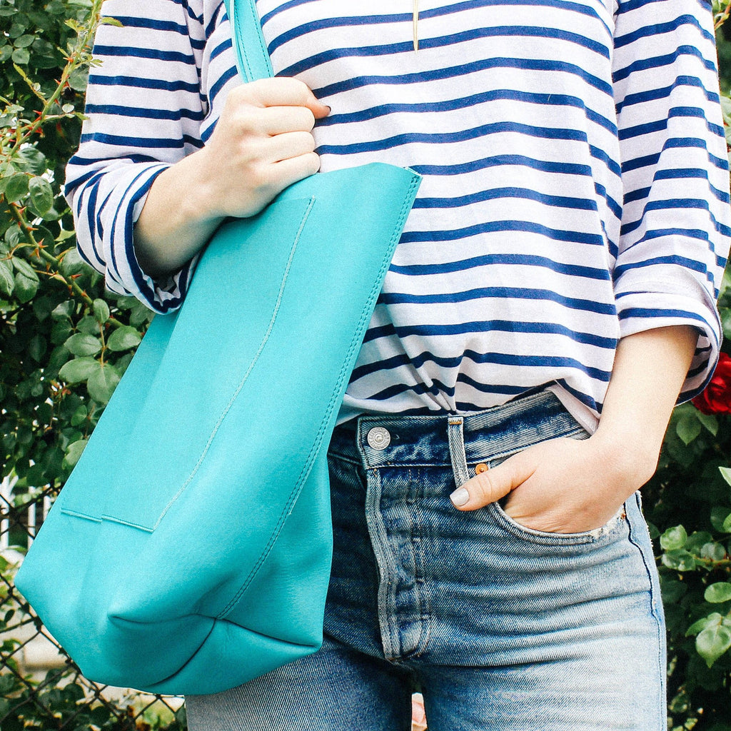 Turquoise Leather Oversized Tote Bag by Kristiina Taylor