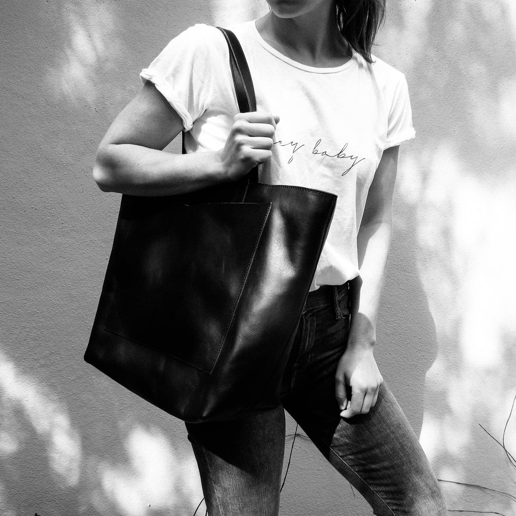 Oversized Black Zipper Travel Tote Bag by Kristiina Taylor