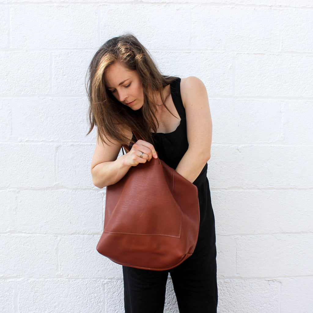 Cognac Leather Oversized Tote Bag by Kristiina Taylor