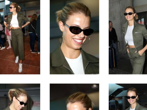 Hailey Clauson travels fashionably in Rag & Bone