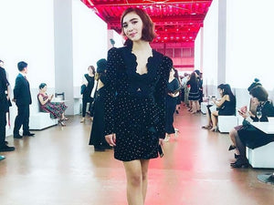 Rowan Blanchard at Shiseido event in Self Portrait dress