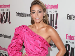 Chloe Bennet wearing an Ulla Johnson pink dress at Comic-Con