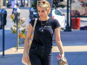 Emma Roberts out to lunch in a Rag & Bone T-Shirt