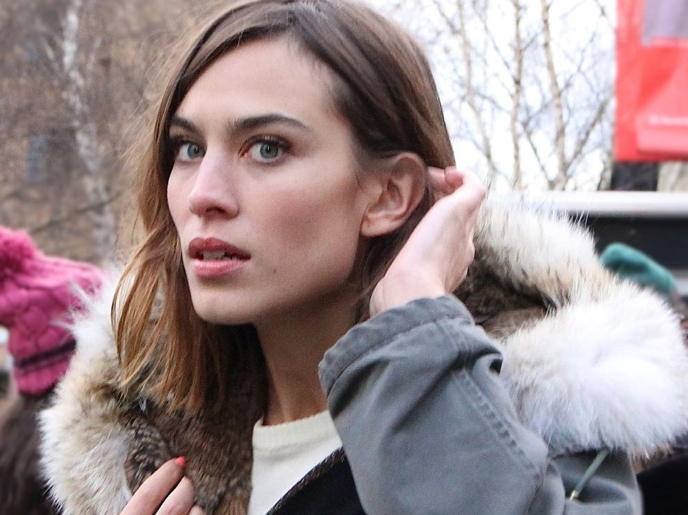 Alexa Chung wearing Yves Salomon Coat