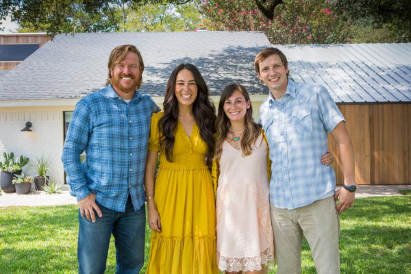 Joanna Gaines in Ulla Johnson yellow dress