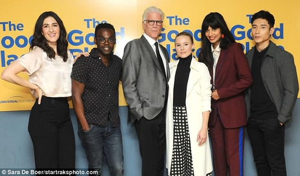 Kristen Bell with crew The Good Place wearing Ulla Johnson pants