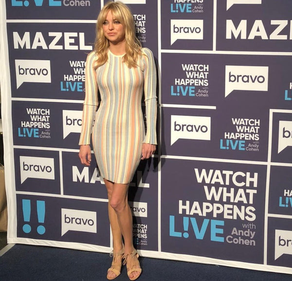 Anna Faris wearing Ronny Kobo stripe dress