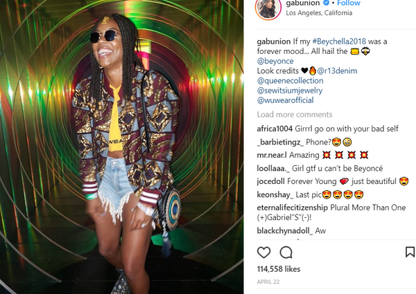 Gabrielle Union wears R13 shredded denim shorts to Coachella