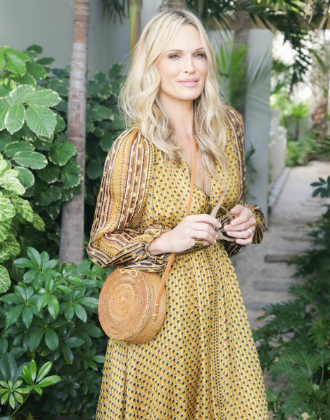 Molly Sims wearing an Ulla Johnson dress