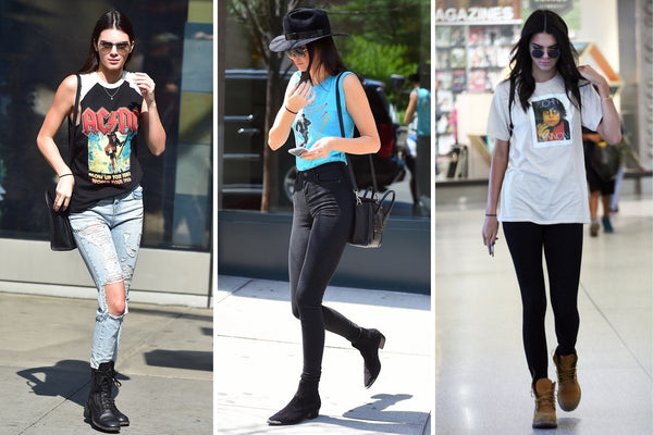 Kendall Jenner likes to wear band T's by Madeworn