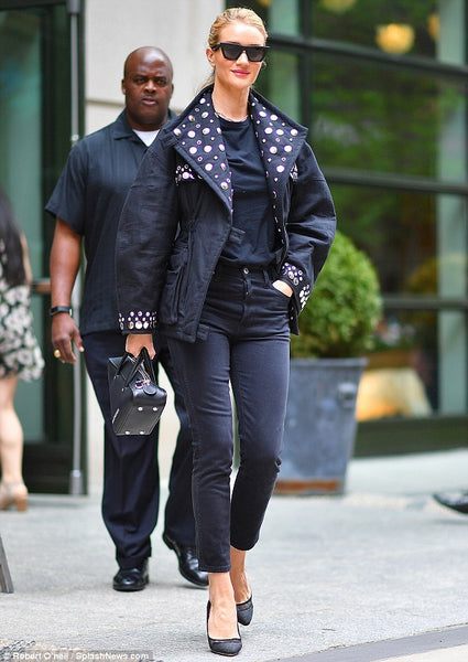 Rosie Huntington -Whiteley wears Isabel Marant jacket