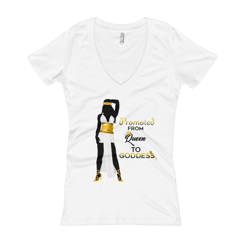 Promoted from Queen to Goddess Women's V-Neck T-shirt