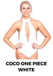 elle evans sustainable materials one piece swim suit white coco